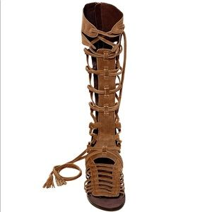 Free People Tall Gladiator Sandals - Brown Leather